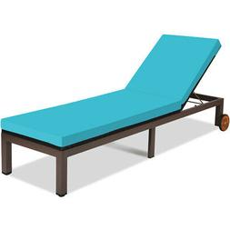 Patio Rattan Lounge Chair Chaise Recliner Back Adjustable W/