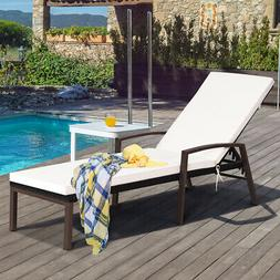 Patio Rattan Lounge Chair Chaise Recliner Back Adjustable Cu