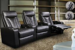 Pavillion Contemporary Leather Theater Seating Recliners Bla