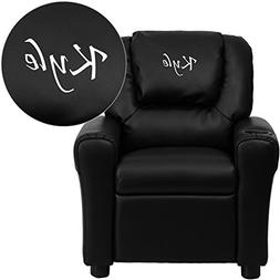 Flash Furniture Personalized Leather Kids Recliner with Cup