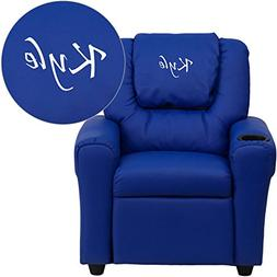Flash Furniture Personalized Vinyl Kids Recliner with Cup Ho