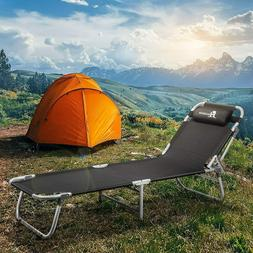 Portable Folding Camping Cot Bed Reclining Lounger Chair 4LV