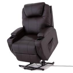 KUPPET Power Lift Chair Recliner Armchair Real Leather Wall