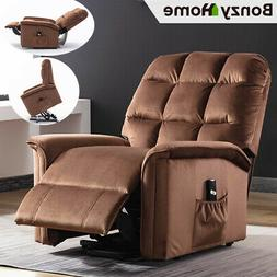 Power Lift Recliner Chair Soft Suede Fabric Padded Cushion W