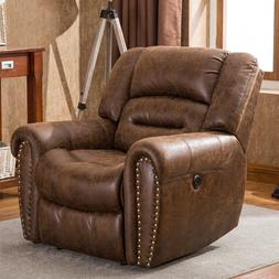 Electric Power Recliner Chair Traditional Brown Breathable B