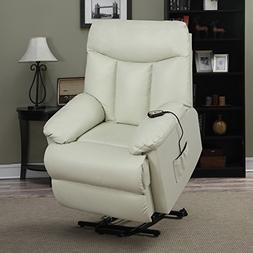 ProLounger Lya Cream Renu Leather Power Recline and Lift Wal