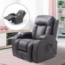 PU Leather Heated Vibrating Massage Recliner Sofa Chair Remo