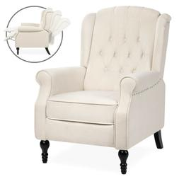 Push Back Tufted Upholstered Recliner Armchair Beige Padded
