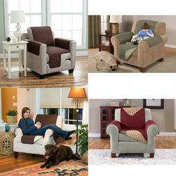 Quilted Reversible Chair Recliner Pet Protector Cover Microf