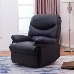 Recliner Black Plush Over Stuffed Bonded Faux Leather Comfy