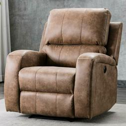 Push Back Recliner Chair Modern Fabric Chaise Accent Reclini