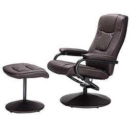Giantex PU Leather Swivel Recliner Chair with Footrest Stool