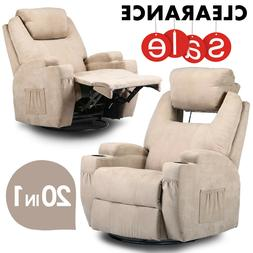 Relaxing Fabric Heated Massage Chair Vibrating Recliner Sofa