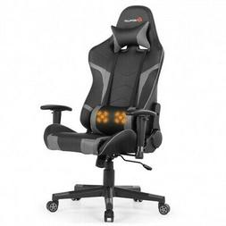 Reclining Swive Massage Gaming Chair-Gray
