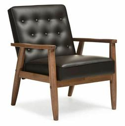 Retro Arm Chair Mid Century Modern Faux Leather Wood Miller