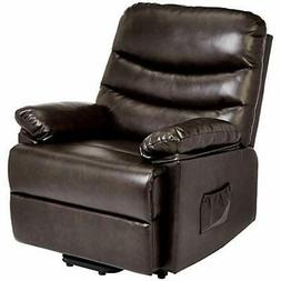 JC Home Sabadell Wall-Hugger Power-Lift Recliner with Faux-L