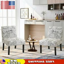 Set of 2 Armless Accent Chair Upholstered Tufted Sofa Padded