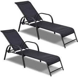 Set of 2 Patio Lounge Chairs Sling Chaise Lounges Recliner A
