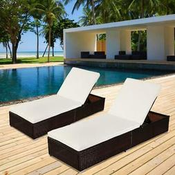 Set of 2 Wicker Chaise Lounge Chair Rattan Pool Patio Lounge