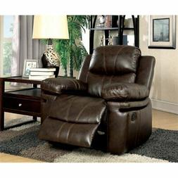 Furniture of America Shilo Recliner Chair in Brown
