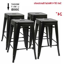 Set of 4 24 inch Metal Barstools Stackable Counter Height Ch