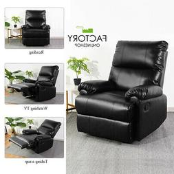 stylish leather recliner chair manual push back