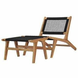 vidaXL Sun Lounger with Footrest Solid Teak Wood and Rope Ou