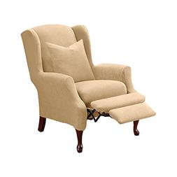 Sure Fit Stretch Pique Cream Wing Chair Slipcover One Piece