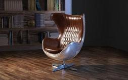 Swivel Egg Chair in Leather Accent Lounge Chairs w/ Reclinin
