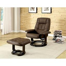BOWERY HILL Swivel Leather Lounge Chair with Ottoman