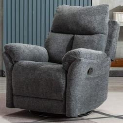"Swivel Rocker Fabric Recliner Chair 23"" Wide Seat Sofa Home"