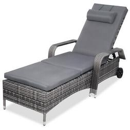 Outdoor Chaise Lounge Chair Recliner Cushioned Patio Furni A