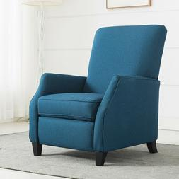 Teal Fabric Padded Chair Sofa Recliner PushBack Accent Chiar