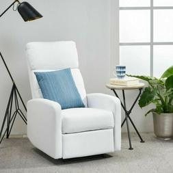 Great Deal Furniture Teyana White Leather Recliner Club Chai