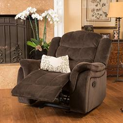 Traditional Design Brown Fabric Glider Recliner Club Chair