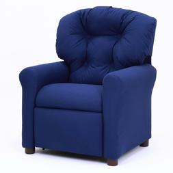 Traditional Kids Recliner Comfortable Blue Lounge Chair Furn