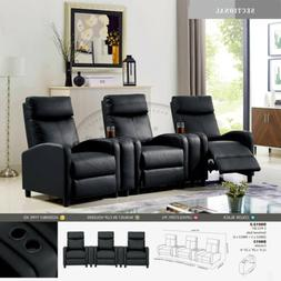 Leather Recliner Accent Chair 3-Piece Theater Set w Cup hold