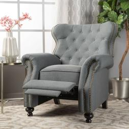 Waldo Contemporary Button Tufted Fabric Recliner with Nailhe