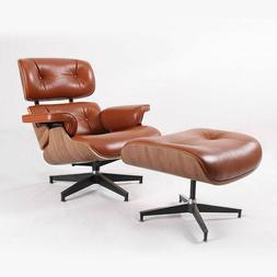 White Genuine Leather Chair Eames Lounge Chair With Ottoman