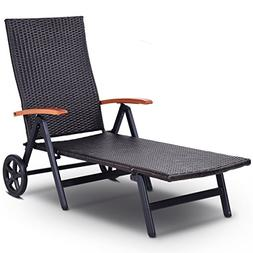 Tangkula Wicker Chaise Folding Back Adjustable Aluminum Ratt