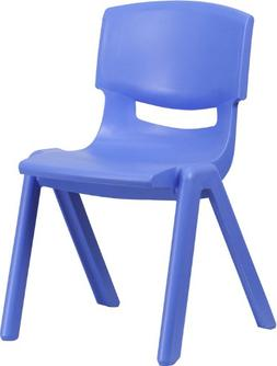 Flash Furniture Blue Plastic Stackable School Chair with 15.